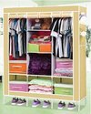 126 Cm Cream Foldable Fabric Wardrobe, For Home