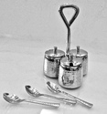 SS Hammered Pickle Stand W Covers & Chutney Spoons