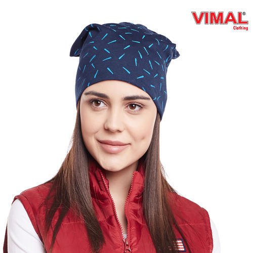 7f59d794c Vimal Navy Blue Printed Cotton Beanie Cap For Women