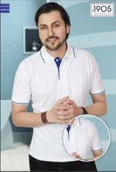 Mafatlal Premium T-Shirt (White Royal Blue)