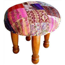 Patola Silk Kantha Chowki - Foot Stool
