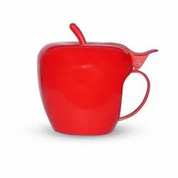 Deodap Fancy Green Apple Shaped Plastic Tea/Coffee Mug Or Cup With Lid, Packaging Type: Box