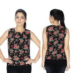 Red Black Sleeveless Georgette Top