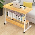 Kawachi Foldable Height Adjustable Studying Desk Bedside Laptop Table with Bookshelf Storage
