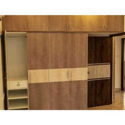 Brown Sliding Wooden Wardrobe