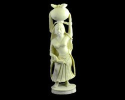 Handmade White Resin Indian Women Figurine Sculpture