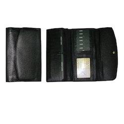 Black Leather Ladies Wallets