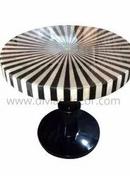 Stripes Round Inlay Coffee Table