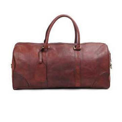 Brown Leather Travel Duffle Bag