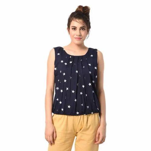 Navy Blue Ladies Sleeveless Western Wear Top