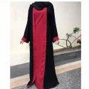 Ladies Red And Black Plain Burkha