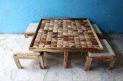 Brown Modern Sheesham Wood Diamond Coffee Table, For Home