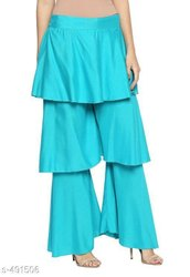 Ladies Blue Layered Palazzo Pants