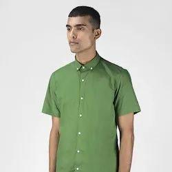 Green Hill Men's Solid Casual Green Half Sleeve Shirt