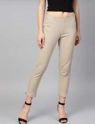 Skin Color Cigarette Pants For Woman