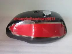 New Triumph T140 Black And Cherry Painted Petrol Tank (Uk Version) With Chrome Cap And Tap