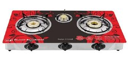 Poweronic Surya Crystal Glass Top 3 Burner Gas Stove