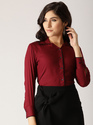 Female Long, Regular Sleeves Viscose Rayon Maroon Solid Shirt