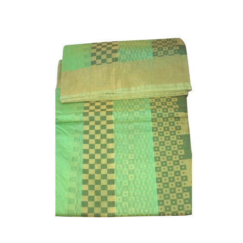 Green Fancy Silk Saree, Machine