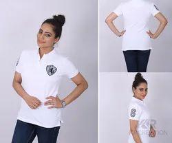 Ladies Polo Neck White T Shirt
