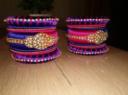 Blue And Pink Silk Tread Bangles