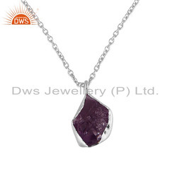 Nugget Design Sterling Fine Silver Raw Amethyst Chain Pendant