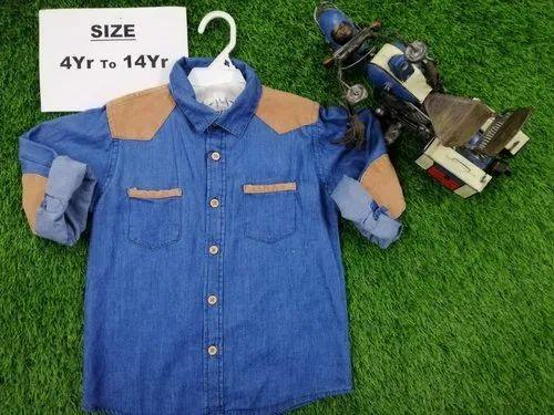 Blue Full Sleeves Kids Denim Shirt