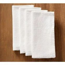 White Plain Cotton Napkin, Size: 10x10 Inch