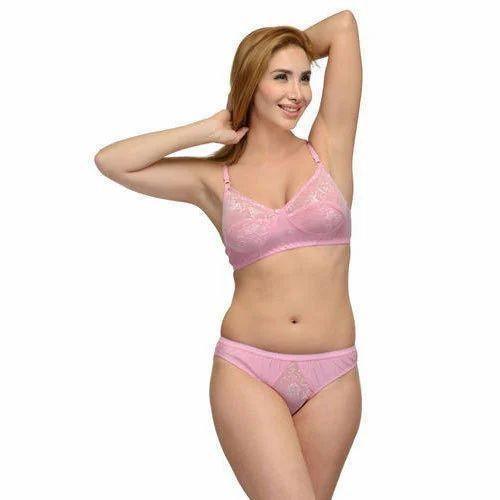 3d7c52613d Pink Cotton And Lace Lingerie Set