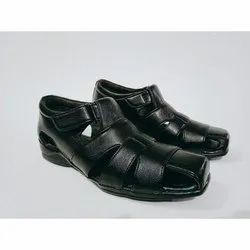PU Daily wear Mens Leather Black Designer Sandal, Size: 8-10