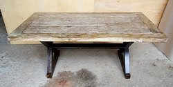 Rectangular Industrial Iron And Mango Wooden Table Distress Finish, Size: D36