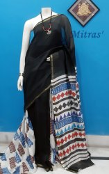 Casual Wear Chanderi Silk Block Printed Saree, 6.5 m ( with Blouse Piece )