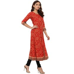 Yash Gallery Womens Cotton Bandhej Print Anarkali Kurta