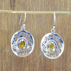925 Sterling Silver Jewelry Natural Citrine Gemstone New Designer Earring We-6031