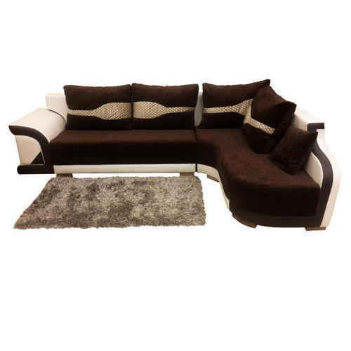 Brown and White L Shaped Sofa Set