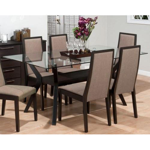 Wooden 6 Seater Modern Glass Dining Table Rs 34000 Set Perfect Interior Decorator Id 20064078197