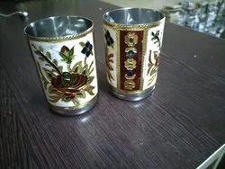 Meenakari Steel Two Glass Set For Return Gift