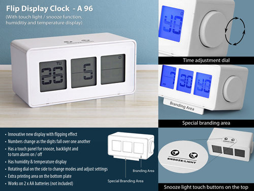 White Touch Light & Snooze Function Flip Display Clock