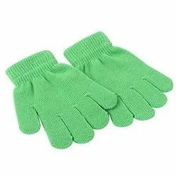 Green Cotton Knitted Gloves