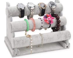 3 Layer White Velvet Jewelry Display Stand