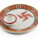 Hand Painted and Gold Kundan Pooja Plate