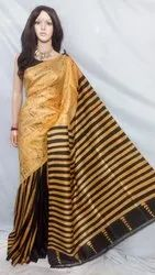 Printed Attached Hand Painted Pure Silk Saree, 6 m (With Blouse Piece)
