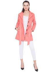 Slim Fit Casual Ladies Leather Long Coat