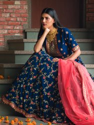 Heavy Embroidery Bridal Blue Lehenga Choli With Net Dupatta By Parvati Febric (76652)