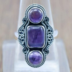 925 Sterling Silver Jewelry Natural Amethyst Three Gemstone Boho Rings Wr-6002