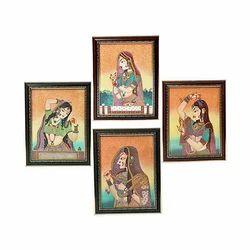 Black Wooden Rajasthani Gemstone Paintings