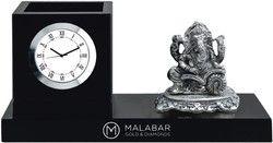 Wooden Desktop Clock with Ganesha