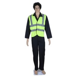 Cotton & PV Industrial Uniform with Reflective Jacket, Size: Small, Medium, Large