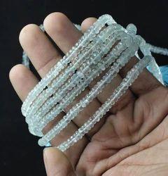 Aquamarine Stone Micro Roundel Faceted Beads
