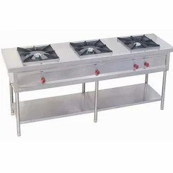 Stainless Steel 3 Three Burner Range, For Hotel, Restaurant etc